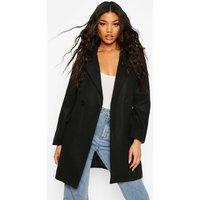 Womens Pocket Detail Wool Look Coat - black - 10, Black