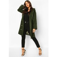 Womens Military Button Double Breasted Wool Look Coat - green - 10, Green