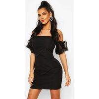 Womens Organza Puff Sleeve Mini Dress - black - 12, Black