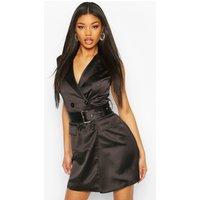Womens Satin Buckle Blazer Dress - black - 10, Black