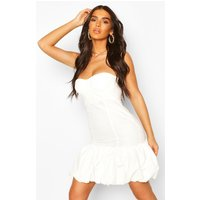 Womens Cupped Puff Ball Hem Mini Dress - White - 8, White