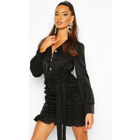 Womens Ruched Skirt Bodycon Shirt Dress - black - 12, Black