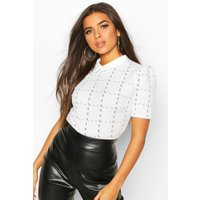 Womens Boucle Checked Collar Puff Sleeve Top - white - 8, White
