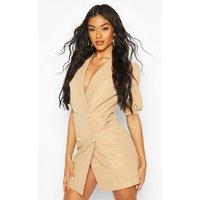 Puff Sleeve Blazer Dress - beige - 10, Beige