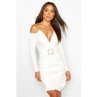 Womens Pearl Buckle Blazer Bodycon Dress - White - 6, White