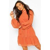 Womens Dobby Chiffon Ruffle Neck Belted Skater Dress - orange - 14, Orange