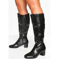 Womens Wider Calf Wide Fit Croc Knee Boots - black - 7, Black