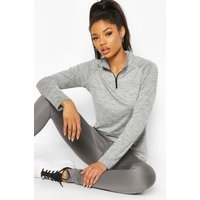 Womens Fit Woman Funnel Neck Marl Top - Grey - 8, Grey