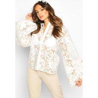 Womens Printed Organza Oversized Sleeve Shirt - white - 10, White