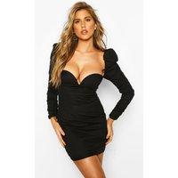 Womens Cotton Puff Sleeve Mini Dress - Black - 12, Black