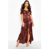 Womens Satin Strappy Ruffle Maxi Dress - brown - 14, Brown
