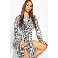 Leopard Print Button Through Belted Midi Dress - black - 10, Black