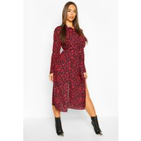 Leopard Collar Button Through Belted Midi Dress - red - 10, Red