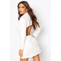 Open Back Blazer Dress - White - 12, White