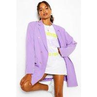 Womens Oversize Double Breasted Blazer - purple - 12, Purple
