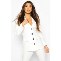 Button Down Fitted Blazer - white - 12, White