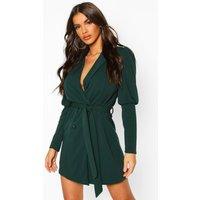 Puff Volume Sleeve Blazer Dress - Green - 10, Green