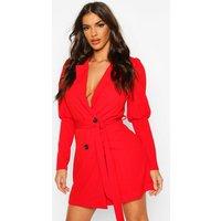 Puff Volume Sleeve Blazer Dress - red - 10, Red