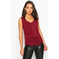 Womens Ruffle Front Woven Top - red - 6, Red