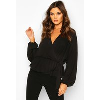 Womens Ruffle Neck Wrap Blouse - black - 12, Black