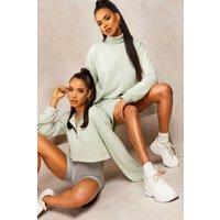 Mix & Match Edition Roll Neck Sweat Dress - green - XL, Green