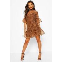 Womens Leopard Print Organza Mesh Shift Dress - brown - 8, Brown