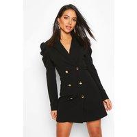 Womens Puff Sleeve Button Blazer Dress - black - 10, Black