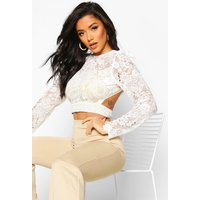 Womens Corded Lace Puff Sleeve Crop Top - white - 14, White