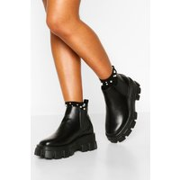 Womens Wide Fit Chunky Cleated Chelsea Boots - Black - 7, Black