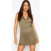 Womens Wrap Tie Detail Pinny Dress - Green - 10, Green