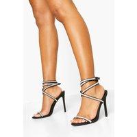 Womens Embellished Wrap Strap Stiletto Sandals - black - 8, Black