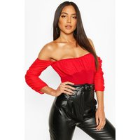 Womens Mesh Ruched Puff Sleeve Off The Shoulder Body - red - 8, Red