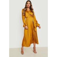 Womens Satin Pleated Midaxi Dress - Yellow - 18, Yellow