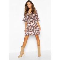 Womens Leopard Print Ruffle Smock Dress - brown - 12, Brown
