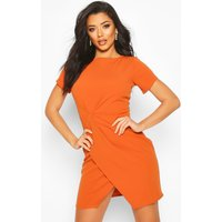 Pleat Front Bodycon Dress - orange - 10, Orange