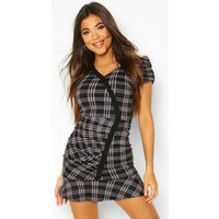 Womens Puff Sleeve Check Dress With Contrast Edge - grey - 12, Grey