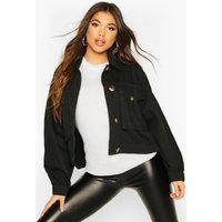 Womens Mock Horn Button Boxy Oversized Denim Jacket - black