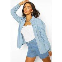 Womens Oversized Mock Horn Denim Shirt Shacket - Blue - 6, Blue