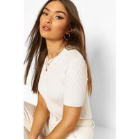 Womens Rib Knit Crew Neck Short Sleeve Knitted Top - White - S, White