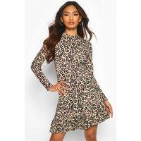 Leopard roll/polo neck Long Sleeve Frill Hem Shift Dress - beige - 10, Beige