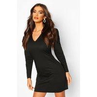 Womens Woven V-Neck Puff Sleeve Mini Dress - black - 12, Black