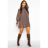 Womens Leopard Print Shirred Neck Shift Dress - Brown - 12, Brown