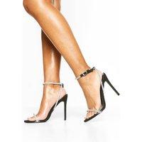 Womens Embellished Clear Strap 2 Part Heels - black - 5, Black