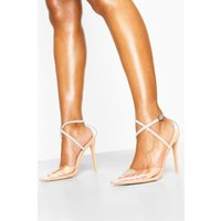Womens Embellished Ankle Strap Clear Courts - Beige - 3, Beige