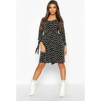 Womens Pleated Spot Tie Sleeve Smock Dress - black - 14, Black