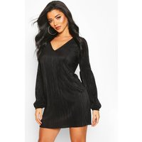 Womens Plisse Pleated Balloon Sleeve Shift Dress - Black - 10, Black