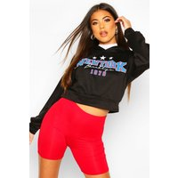 Womens New York Slogan Crop Hoody - black - 14, Black