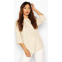 Womens Curve Hem Overszied T-Shirt - beige - 16, Beige
