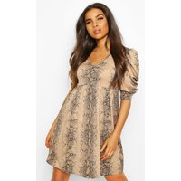 Womens Snake Puff Sleeve Skater Dress - beige - 10, Beige