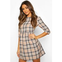 Womens Tonal Check 3/4 Sleeve Smock Dress - beige - 12, Beige